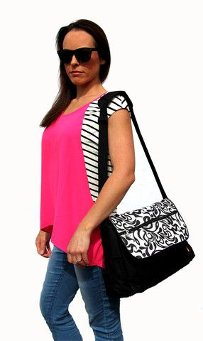 Black Nappy Bag, Messenger Nappy Bag, Diaper Bag, Messenger Bag, Pram bag | Baby Buy Direct
