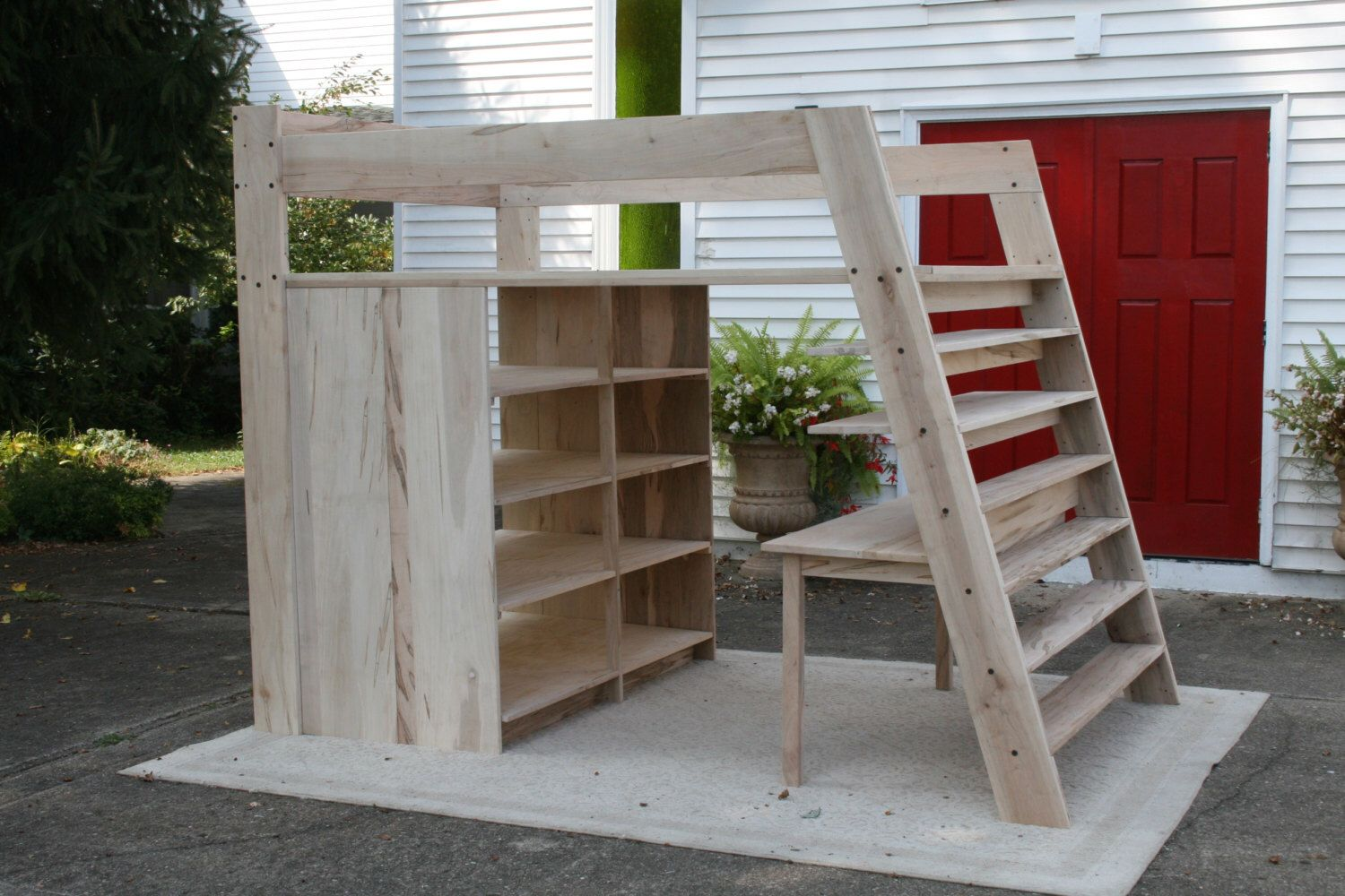 Loft bed with desk queen  LbSnV Solid Hardwood Loft Bed with large headend shelves and