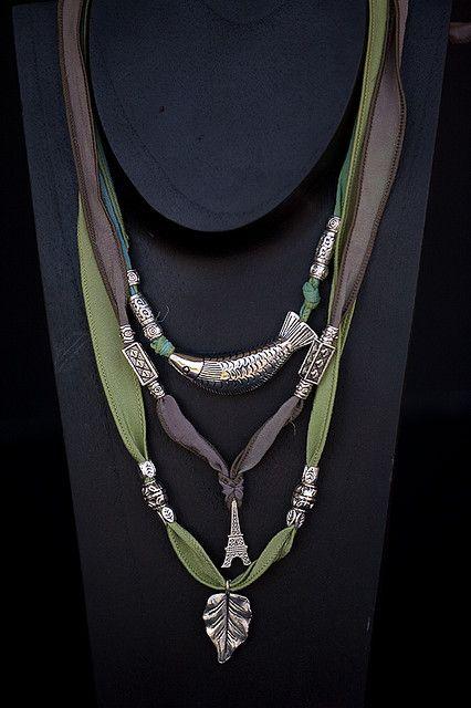 Necklaces Ribbon Jewelry Beaded Jewelry Jewelry Inspiration