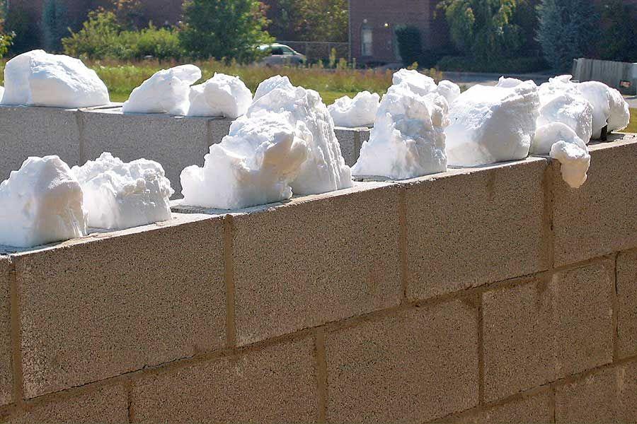 CMU wall infilled with insulation foam CMU Wall Pinterest
