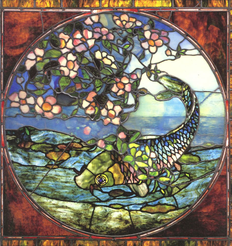 John la farge fish and flowering branch stained glass for Stained glass fish