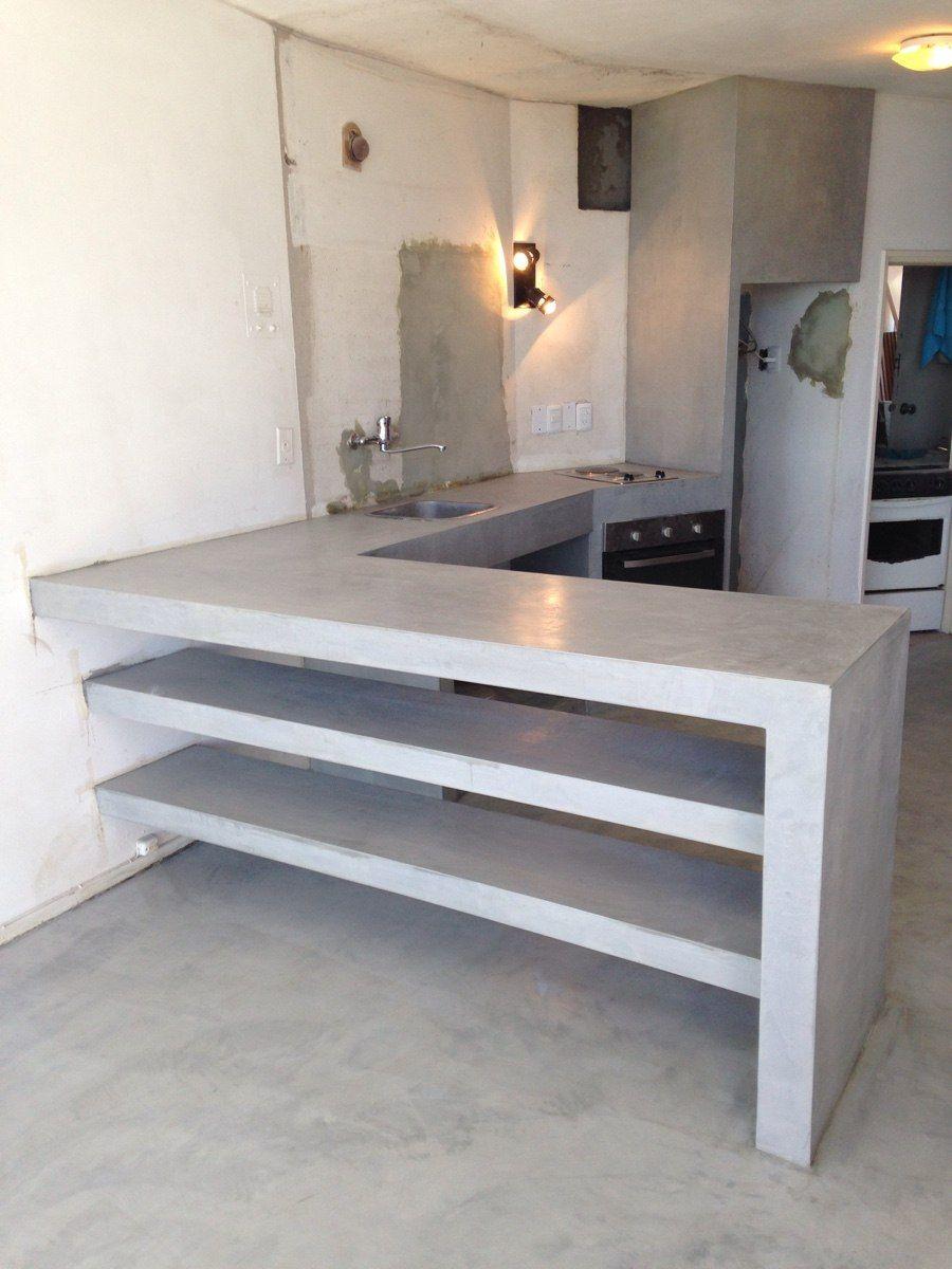 Cemento lustrado estucados cemento alisado microcemento for Barras de cocina de concreto
