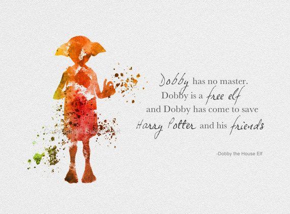 art print dobby the house elf quote harry potter illustration