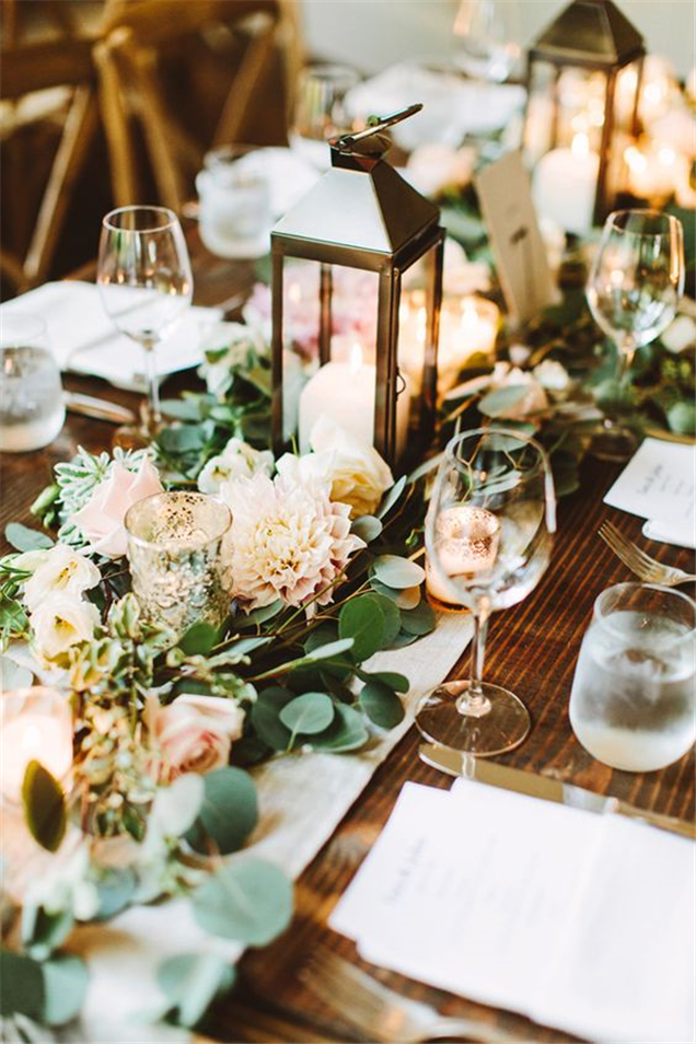 Home » Wedding Ideas » COLOR OF THE YEAR 2017 U2013 Greenery Wedding  Centerpiece Ideas » Greenery Wedding Centerpiece With Lanterns