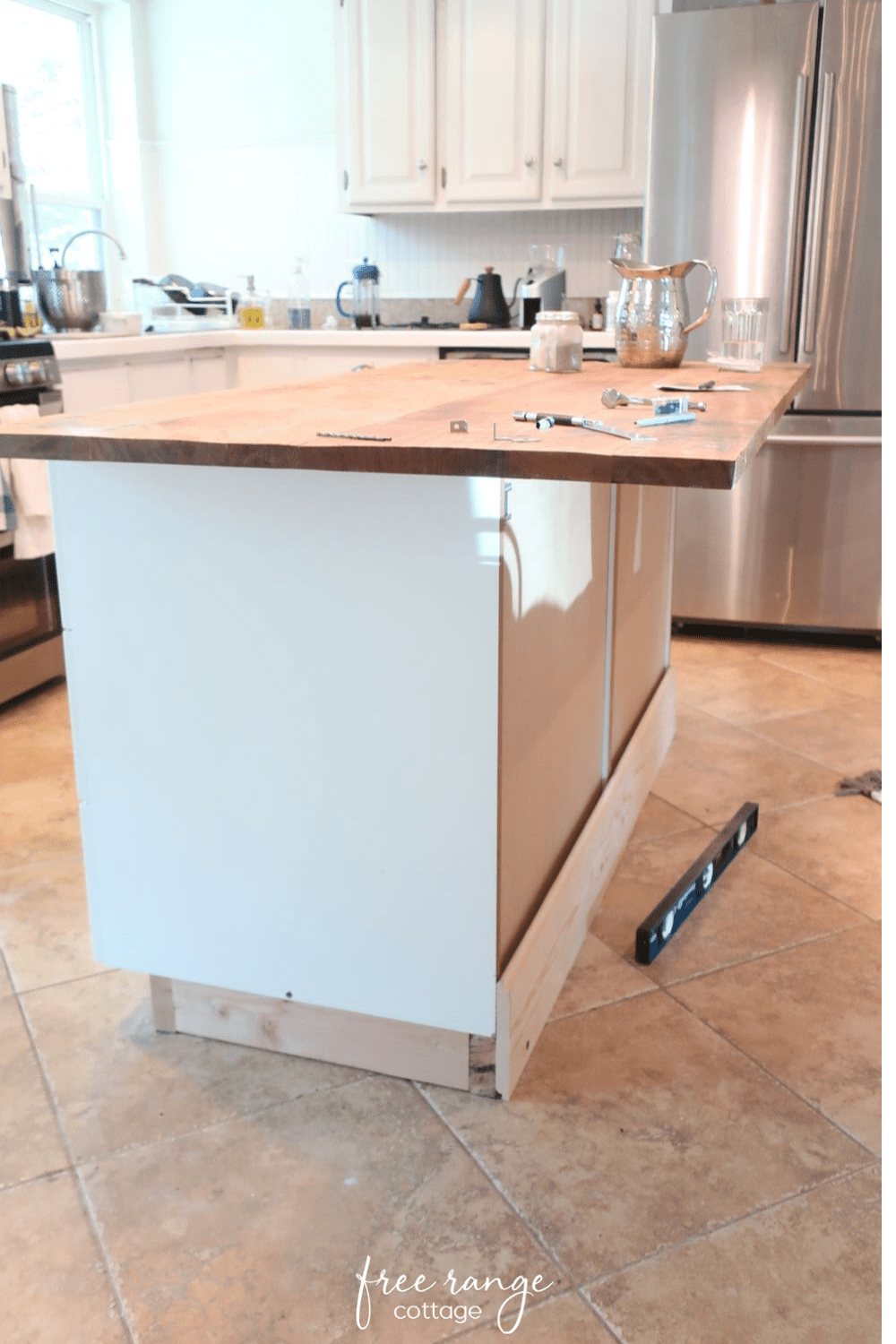 Ikea Diy Kitchen Island With Thrifted Counter Top Free Range Cottage In 2020 Diy Kitchen Island Kitchen Peninsula Diy Ikea Kitchen Island