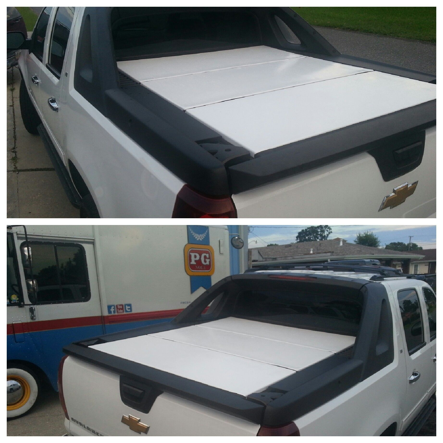 Last Install For The Day Gloss White Avalanche Bed Cover Wrap Pgnola Avalanche Bedcover Coverwrap Nola Neworlea Chevy Avalanche Chevy Avalanche