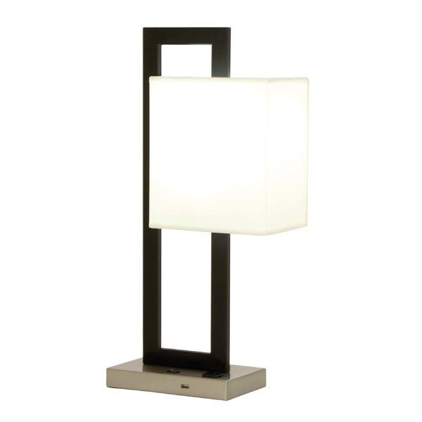 Modern Reflections Metal 24 Table Lamp Rectangular Matte Black Iron Post White Cylindrical Lamp Shade And A Matte S Lamp Contemporary Table Lamps Table Lamp