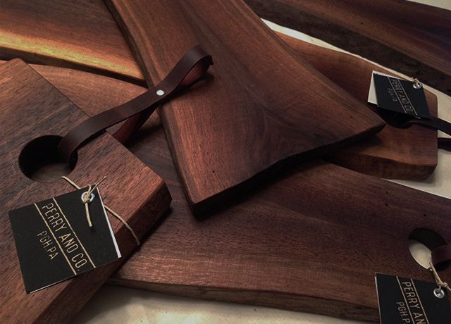 Perry And Co   Pittsburgh Custom Modern Furniture   Live Edge Cutting  Boards   Leather Straps