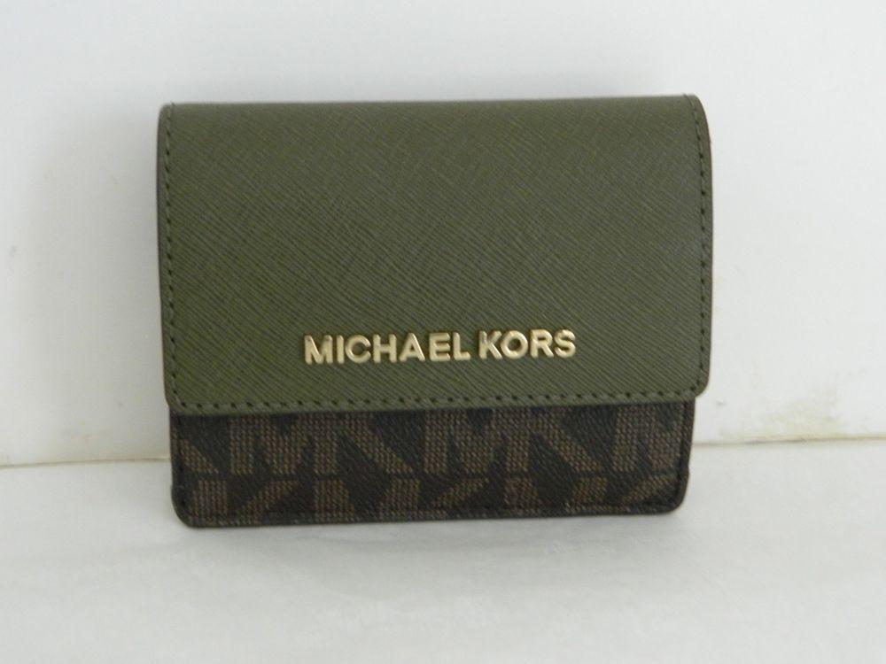 5a046e9ff09a NWT MICHAEL KORS JET SET TRAVEL BROWN/OLIVE CARD CASE ID KEY HOLDER  35F7GTVD2B #fashion #clothing #shoes #accessories #womensbagshandbags ...