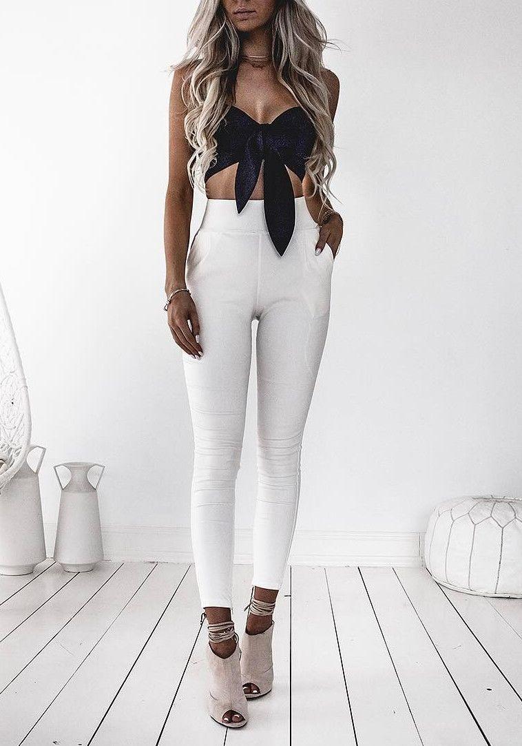 cute crops   white high waist