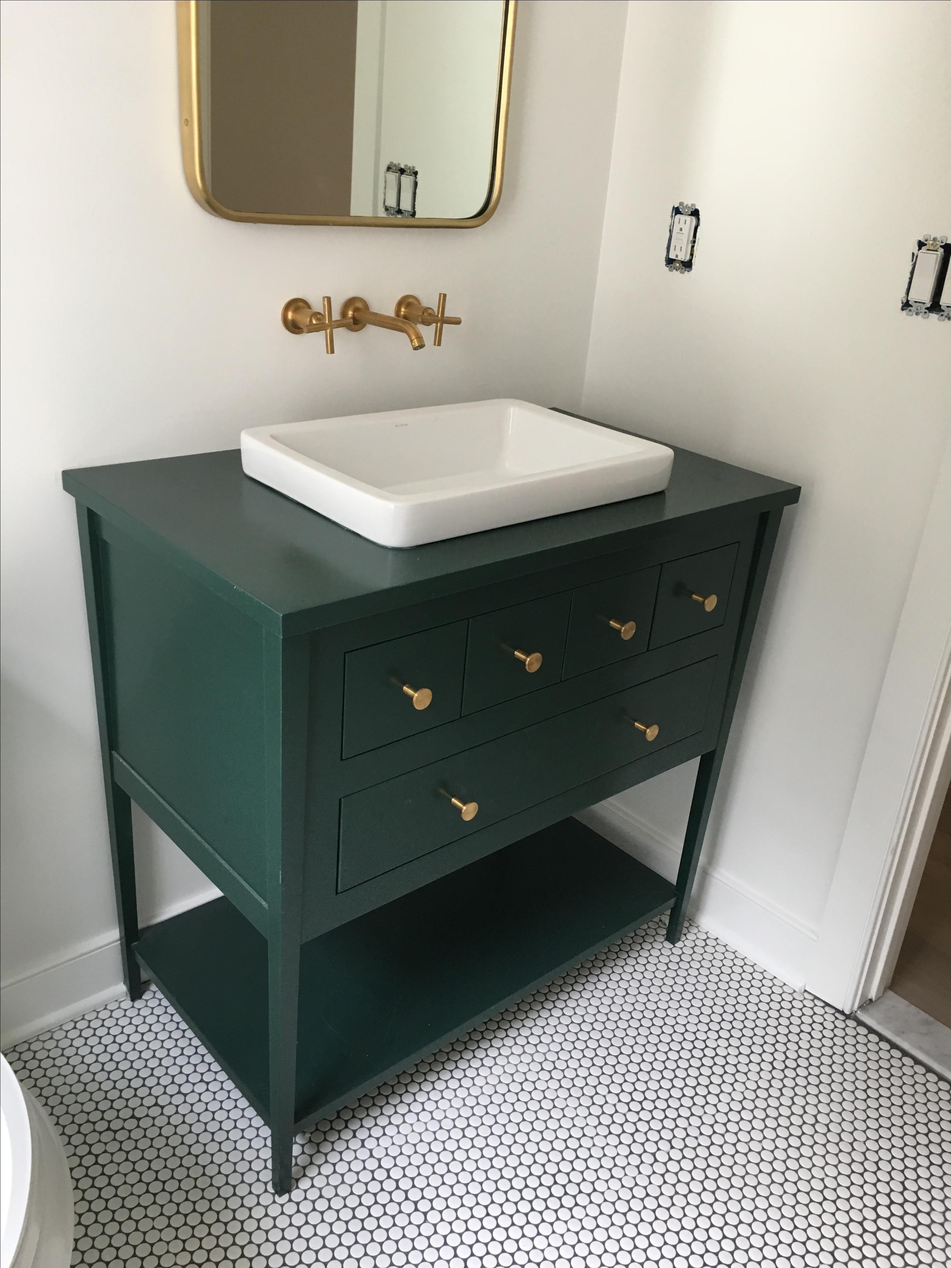 Image Result For Bathroom With Green Vanity Green Vanity Green