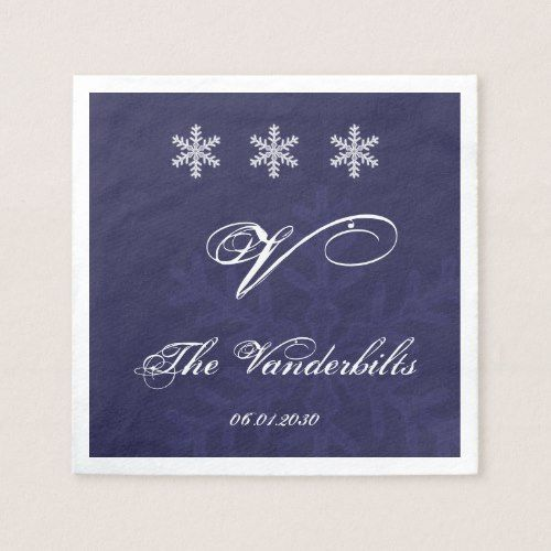 Navy Blue Snowflake Winter Wedding Napkin - navy napkins