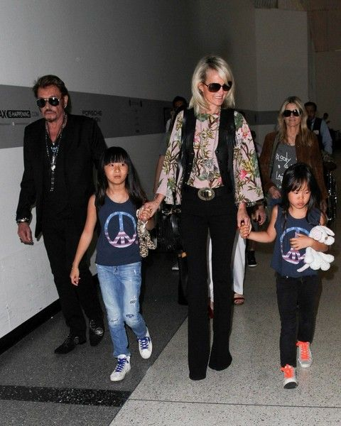 Johnny Hallyday and Family Seen at LAX