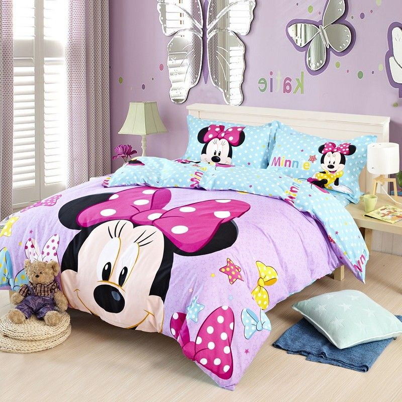 Bedding Sets · Purple Blue Stars Full And Queen Size Cotton Minnie Mouse  Head Bedding