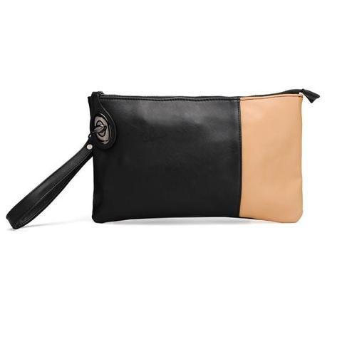 Vintage Women PU Leather Color Block Clutch Bag