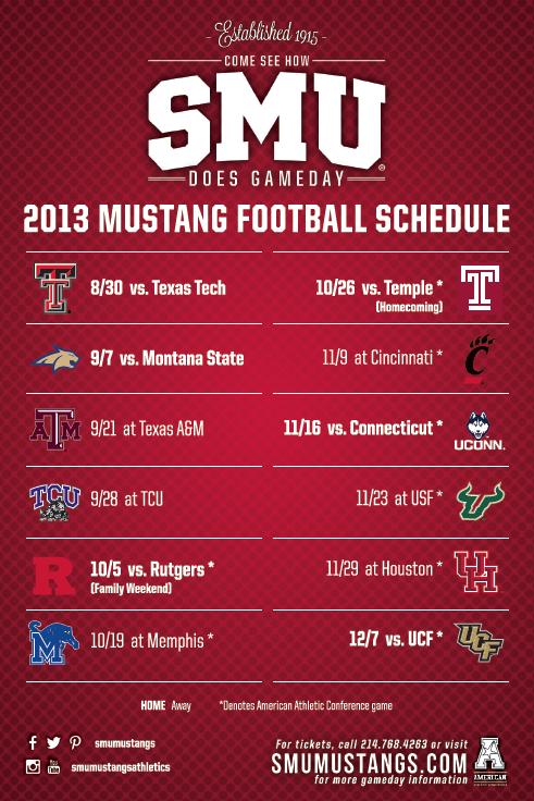 SMU 2013 Football Schedule Sports marketing