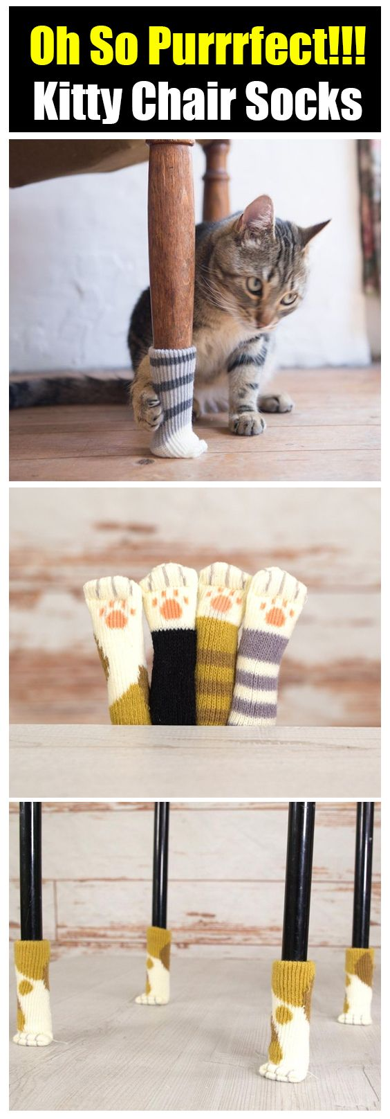 Kitty Paw Chair Socks 😍 Protect your wood floors from