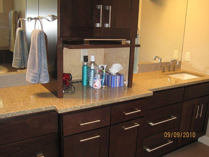 Bathroom blow dryer curling iron straightener garage master