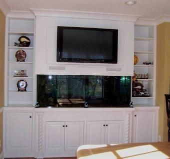 Custom Made Built In Fish Tank Entertainment Center