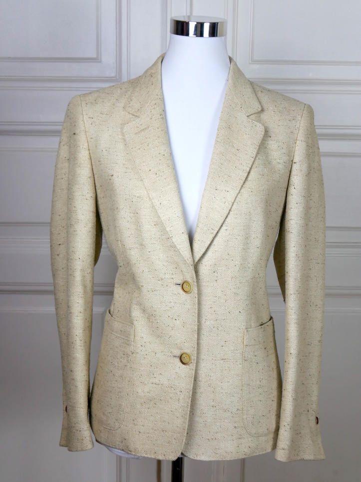 German Vintage Women S Blazer Cream Colored Silk Tweed Jacket