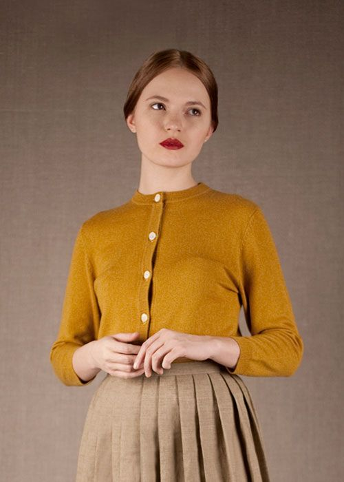 Cardigan Mustard, skirt pleated