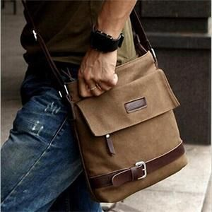 New 2014 Men's Brown Canvas Shoulder Crossbody Bags/Stylish ...