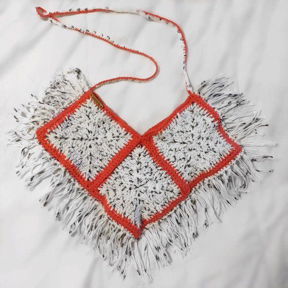 Crochet Crossbody Bag / Pink Purse / White and by HookedOnTilly fringe coral bag / handmade / DIY / Black / crochet purse