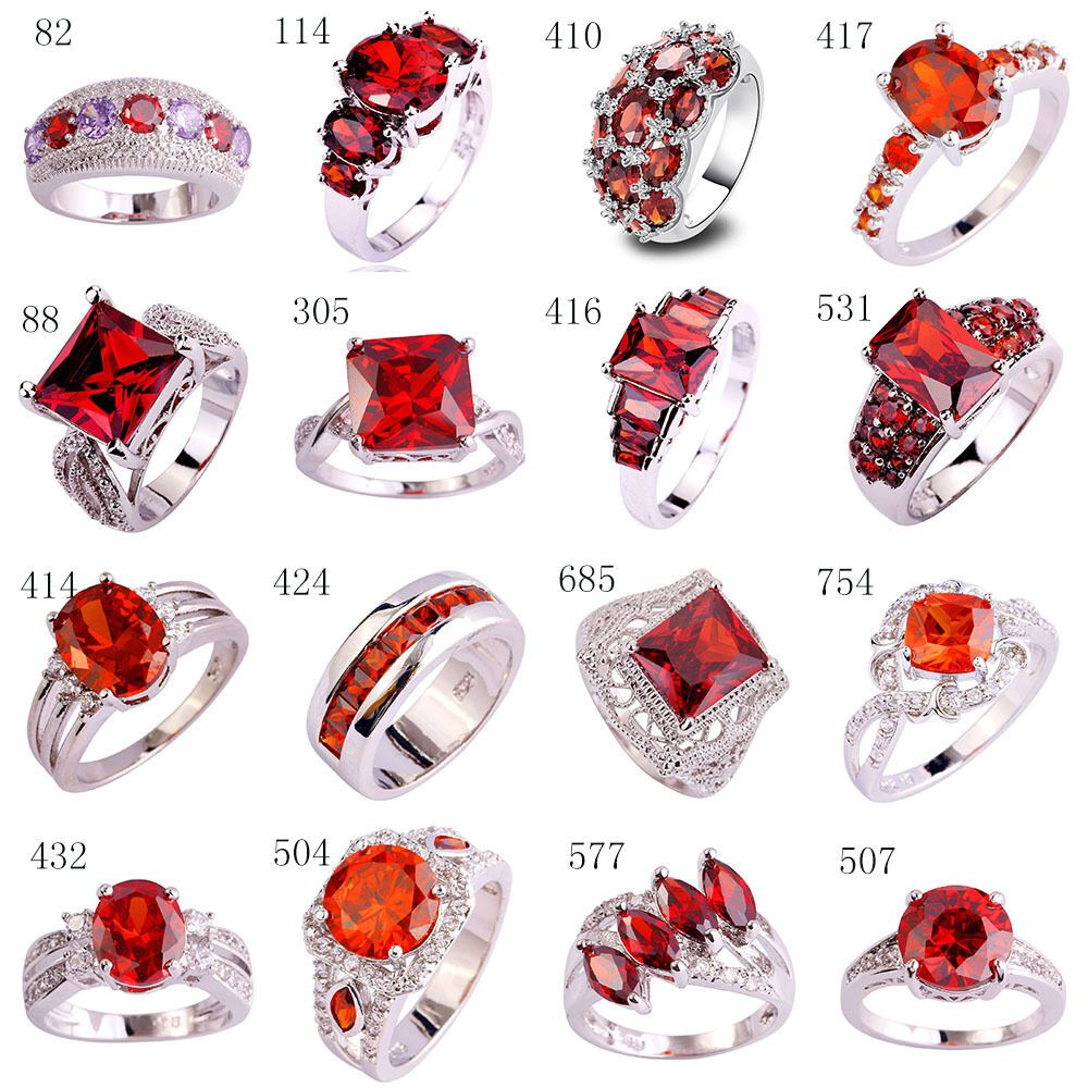 Size 6 7 8 9 10 11 12 13 Bridal Ruby Spinel /& White Topaz Gemstones Silver Ring