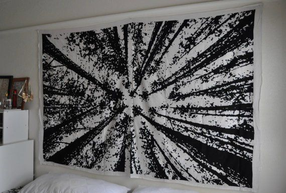 Bohemian Locust Tree Wall Hanging Hippie Black White Tapestries Black And White Wall Tapestry Dorm Room Wall Decor Wall Decor Bedroom