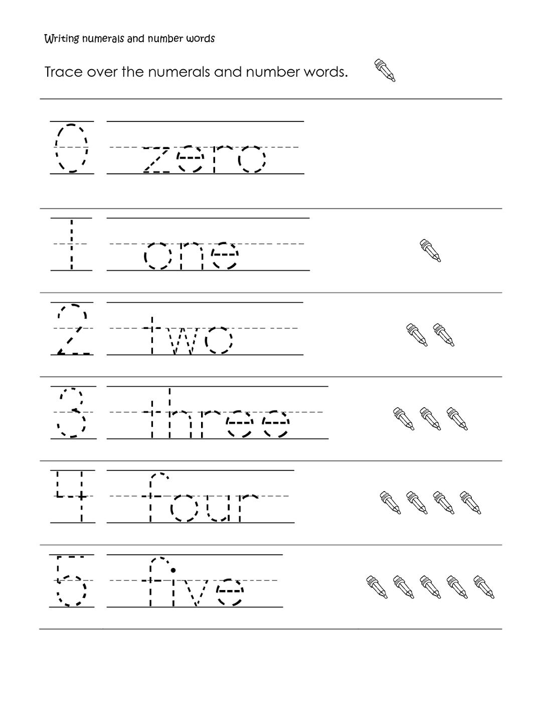 Writing Numbers Worksheet In