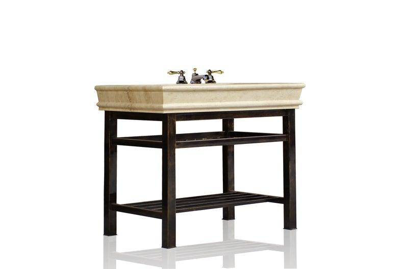 Oil Rubbed Bronze Stainless Steel Bath Vanity 36 Travertine Top