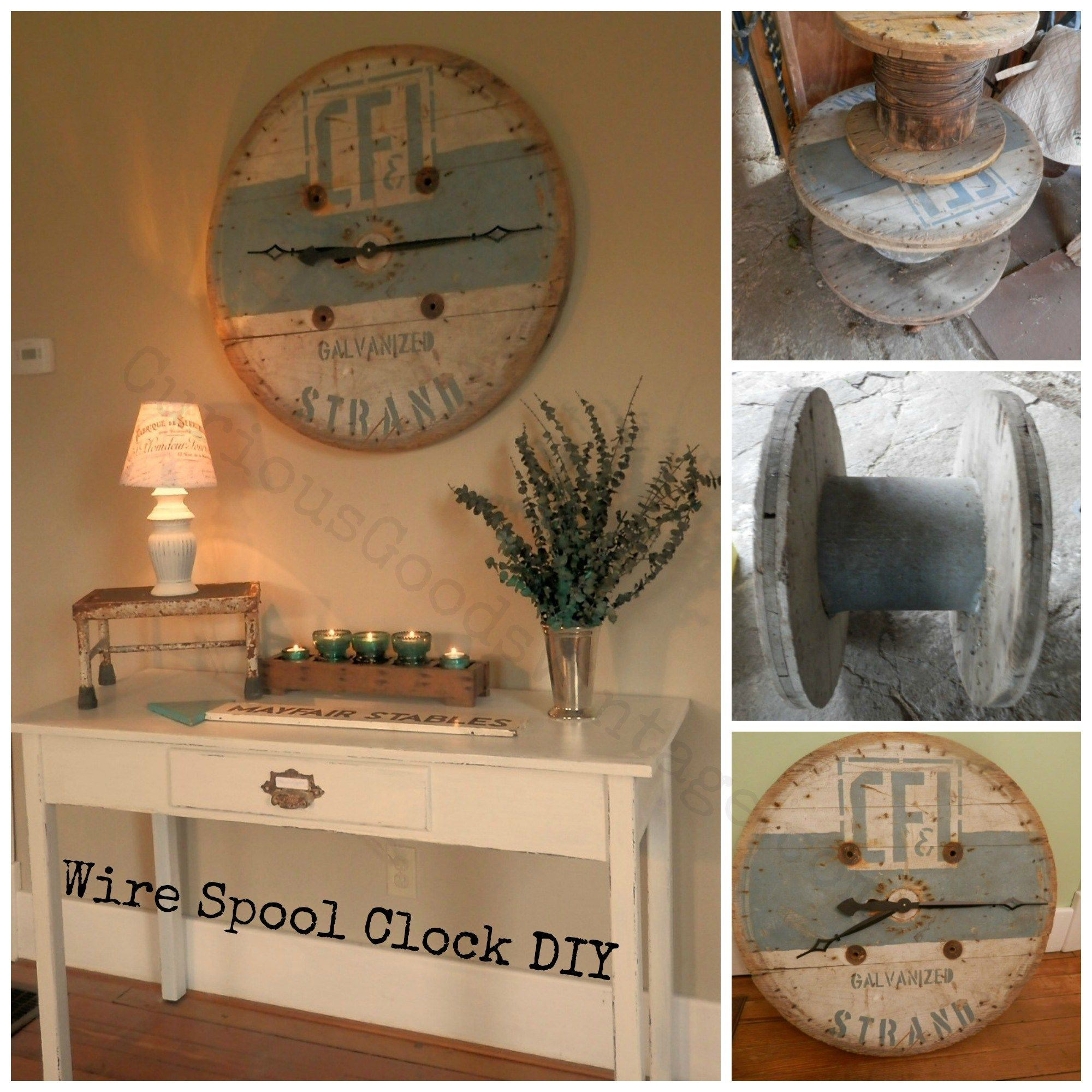 wire spool clock cable spool oversized vintage salvage how-to DIY