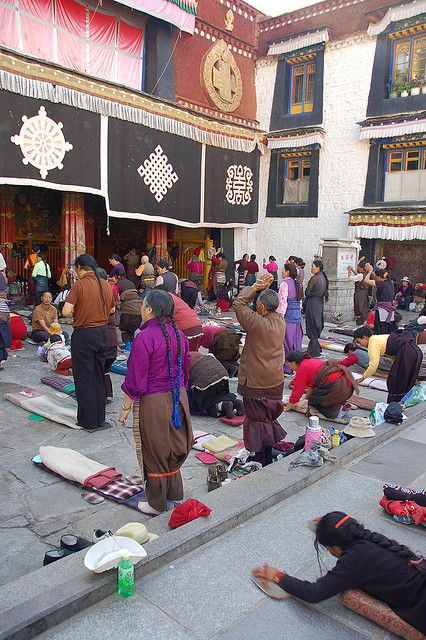 Pilgrims at the Jokhang Temple, Lhasa...