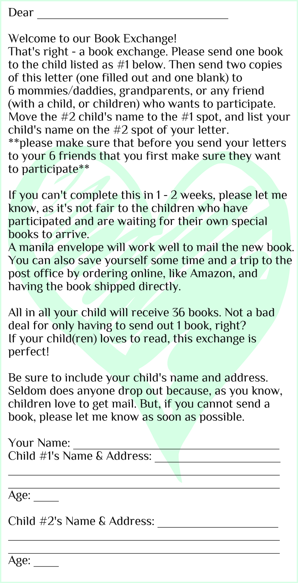 start a book exchange with family and friends template letter
