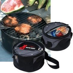 Great way to grill and chill! Our Dobby-Tec 420d polyester with PVC backing Heavy-gauge steel grill that burns charcoal or wood. The outer chamber holds the grill while the insulated and lined inner cooler compartment holds up to ten 12 oz. cans.