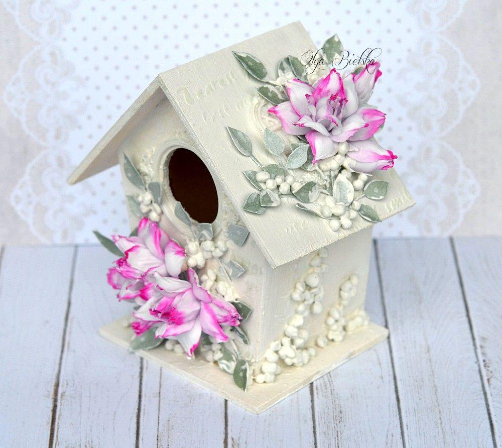 Domek Z Kwiatami Z Foamiranu Jedwabnego Decor Home Decor Bird House