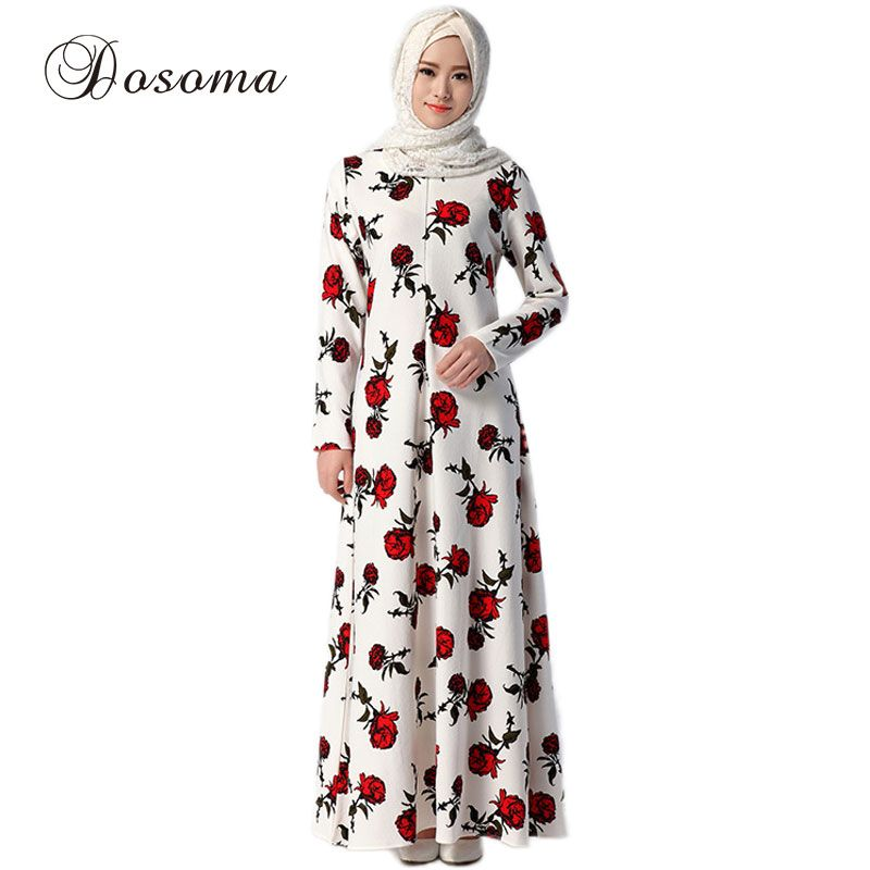 646a6ee28a Muslim Maxi Dress Women Print Abaya Kaftan Arab Robes Islamic Long Dresses  Dubai Turkey Colorful Vestido Instant Hijab 046