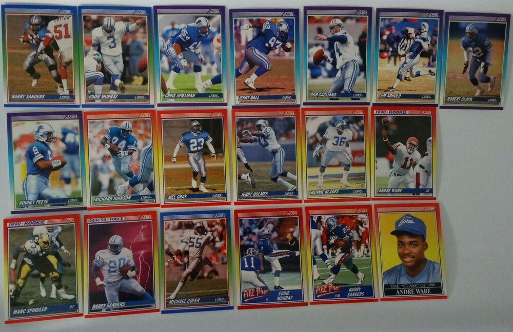 1990 score detroit lions team set of 19 football cards