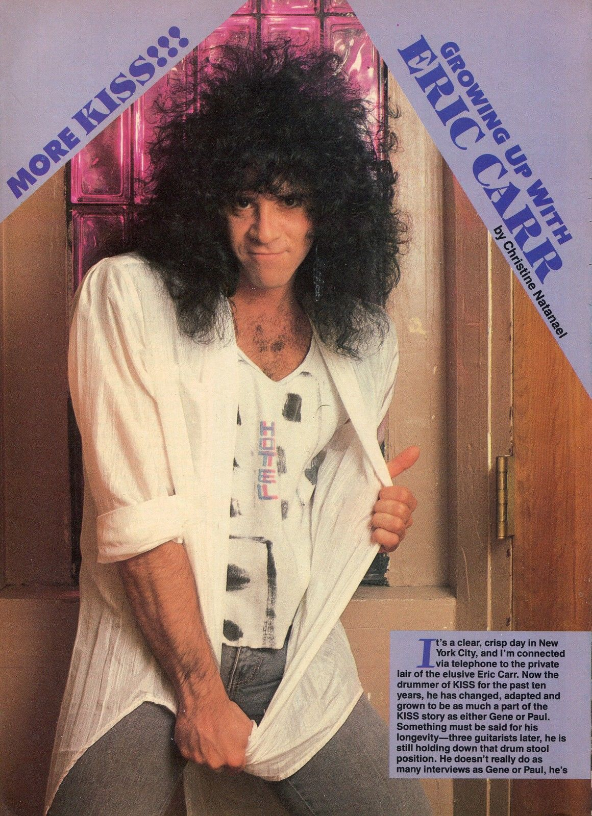 ERIC CARR PINUP CLIPPING 80's Sexy kiss | Eric carr, Kiss ...