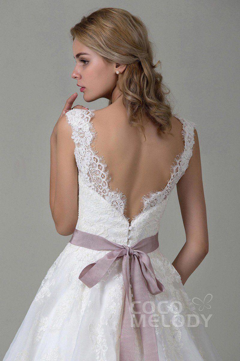 Hochzeitskleid A-Linie aus Spitze mit Hofschleppe CWZT15007 ...