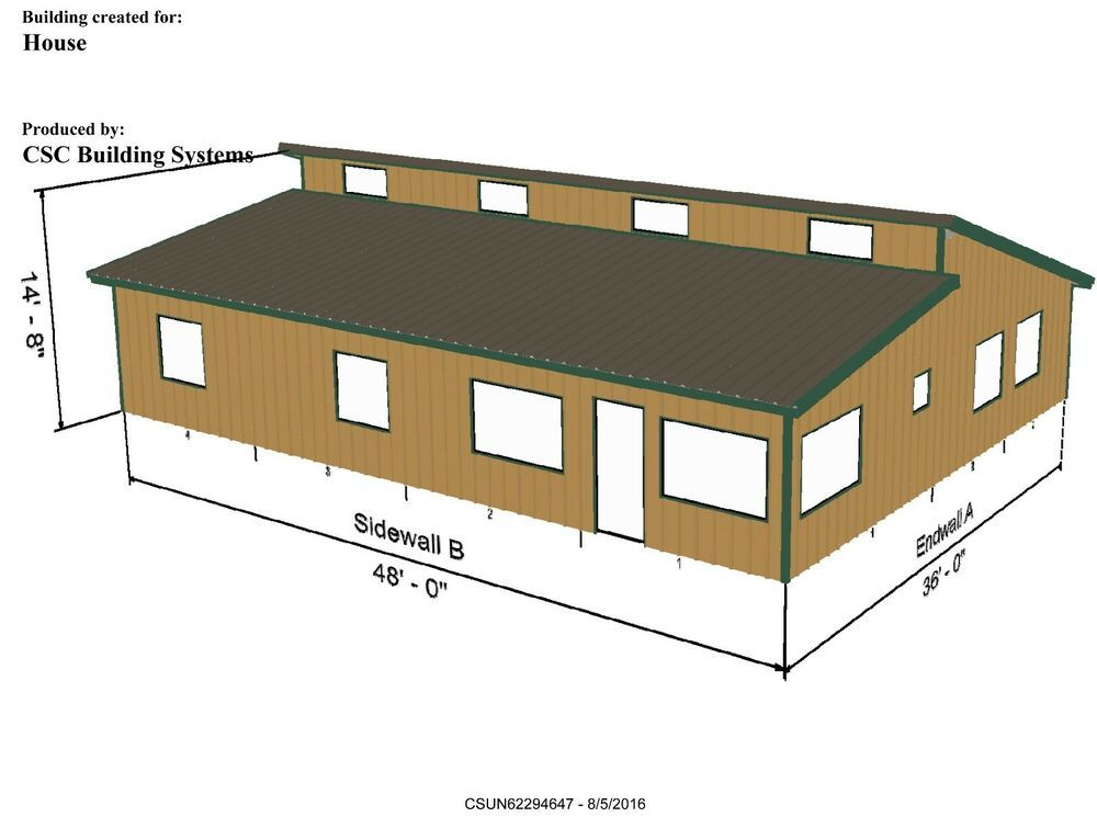 Steel Home Kit Csc3648 3 Bedr 2 Bath Inc Roofing Siding 1728 Sf Living Steel Home Kits Steel House Roof Siding