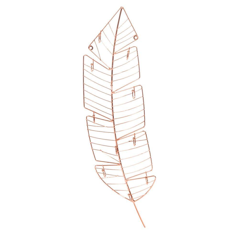 Porte bijoux mural plume en m tal h 13 cm copper id es for Meuble a bijoux mural