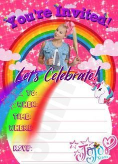 Jojo Siwa Birthday invitation. Jojo Siwa fill out yourself