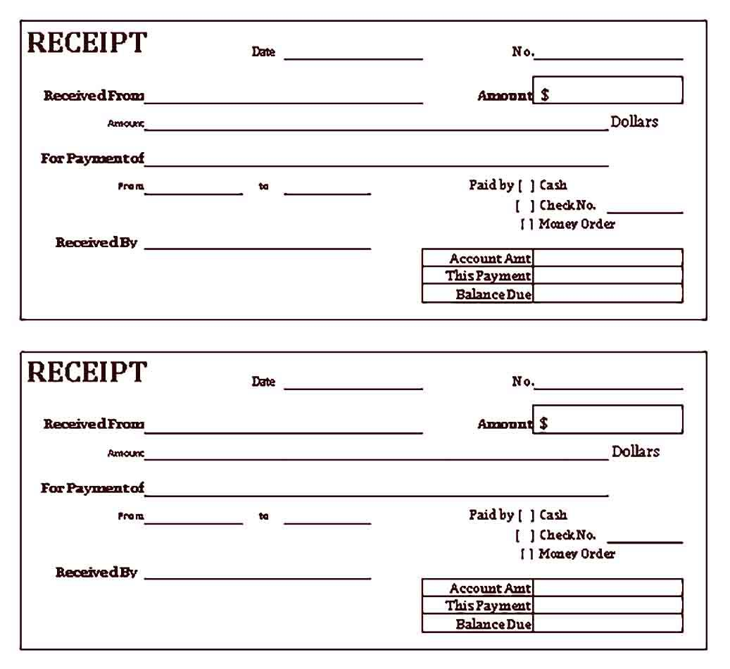 Free Cash Receipt Sample Templates