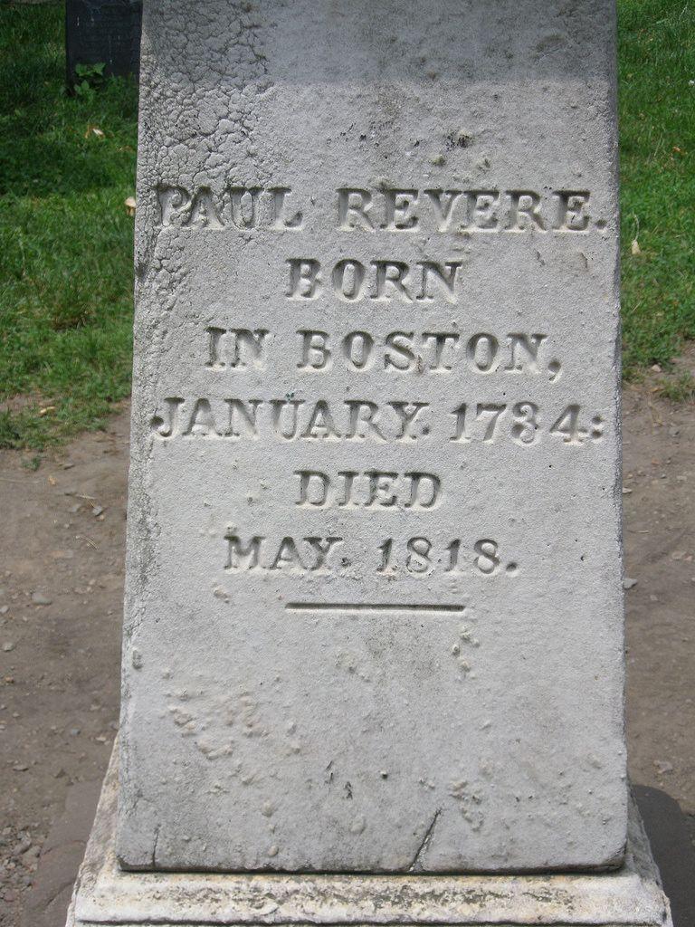 Paul Revere's grave stone, Granary Burying Ground, Freedom Trail, Boston Massachusetts