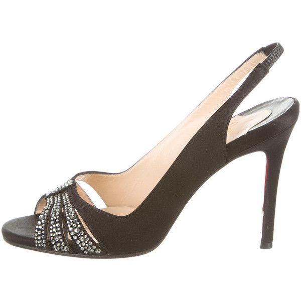 a00c7ea124bb Pre-owned Christian Louboutin Embellished Slingback Pumps ( 445) ❤ liked on  Polyvore featuring