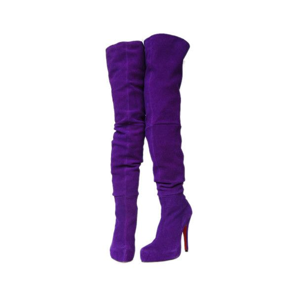 Christian Louboutin Purple Violet thigh high Boots ❤ liked on Polyvore featuring shoes, boots, heels, purple, purple over the knee boots, over the knee boots, above-knee boots, thigh high boots and violet boots