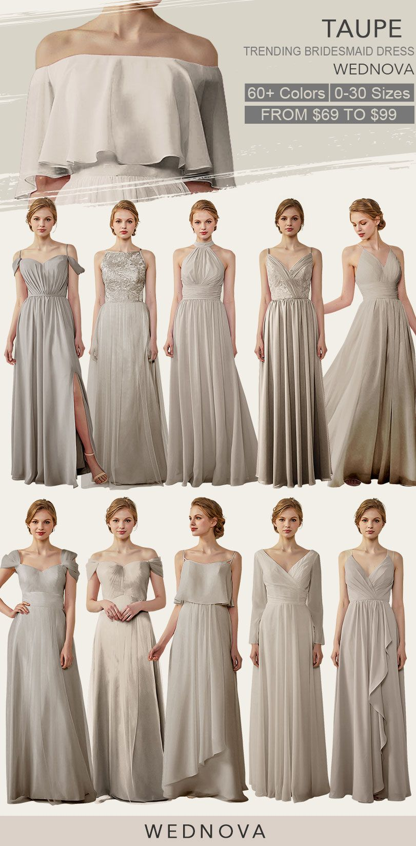 ef48e9bdee Taupe bridesmaid dresses cold shoulder dress chiffon straps dress with  ruffle cheap afforable  bridesmaids Taupe bridesmaid dresses