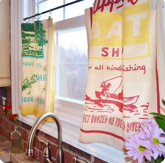 Tea Towel Kitchen Curtains: Tea Towel Cafe Curtains! Cheap, Easy, No Sew Curtains! To