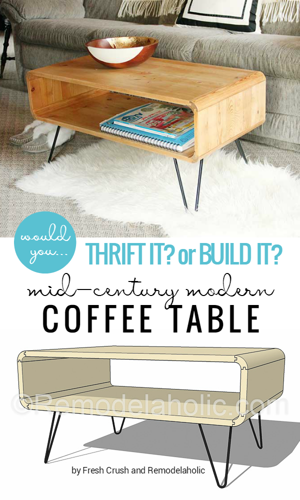 b61527e93c13 Mid-Century Modern Coffee Table -- made from thrifted cubbies OR build your  own with a little bit of creative saw work!  Remodelaholic